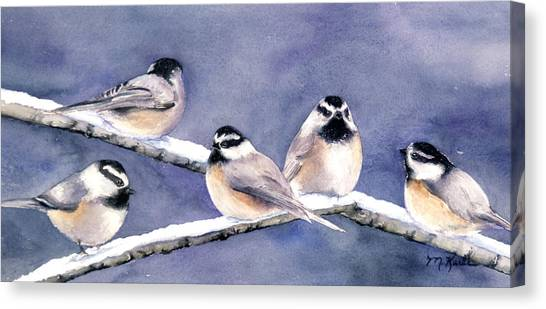 Holiday Chickadees Canvas Print