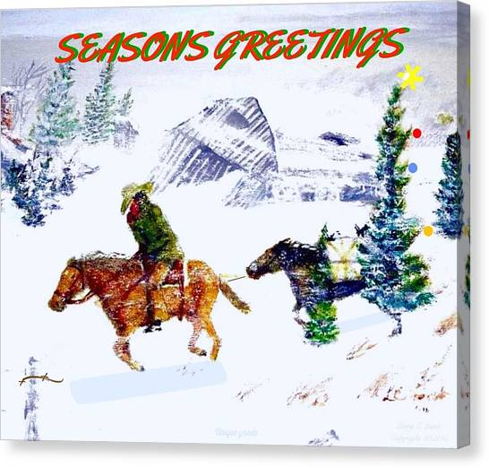 Western Conference Canvas Print - Holiday Greeting Card Cold Wind by Larry Lamb