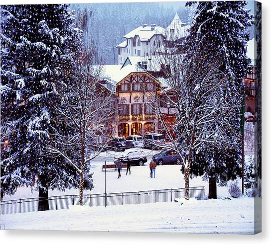 Holiday In The Village Canvas Print