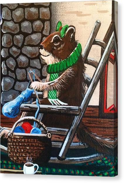 Holiday Knitting Canvas Print