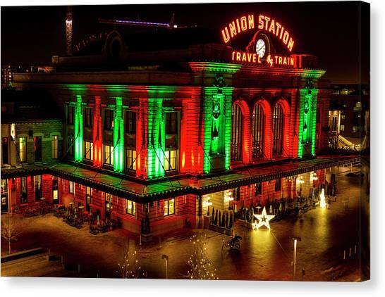 Holiday Lights At Union Station Denver Canvas Print