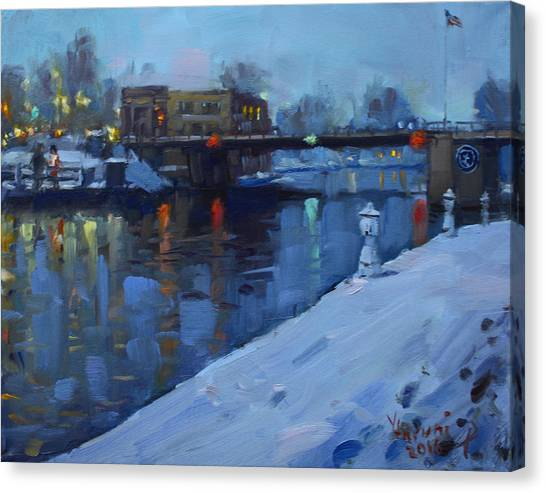 Christmas Lights Canvas Print - Holiday Lights In Tonawanda Canal  by Ylli Haruni