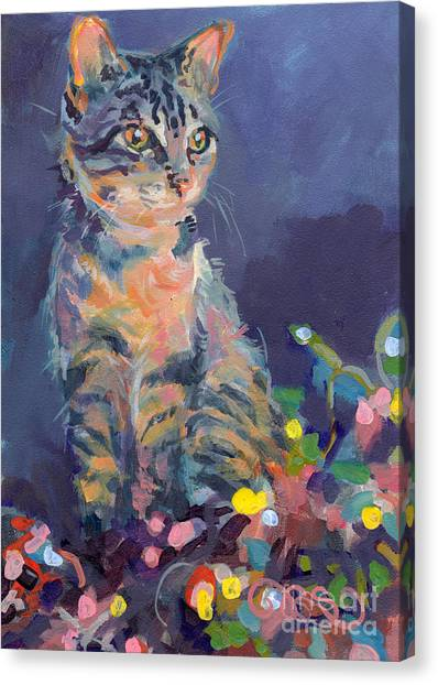 Kittens Canvas Print - Holiday Lights by Kimberly Santini