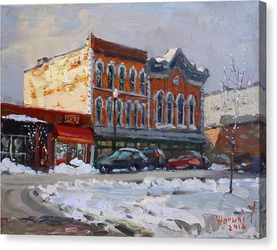 Bistros Canvas Print - Holiday Shopping In Tonawanda by Ylli Haruni