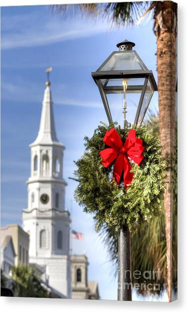 Wreath Canvas Print - Holiday Wreath St Michaels Church Charleston Sc by Dustin K Ryan