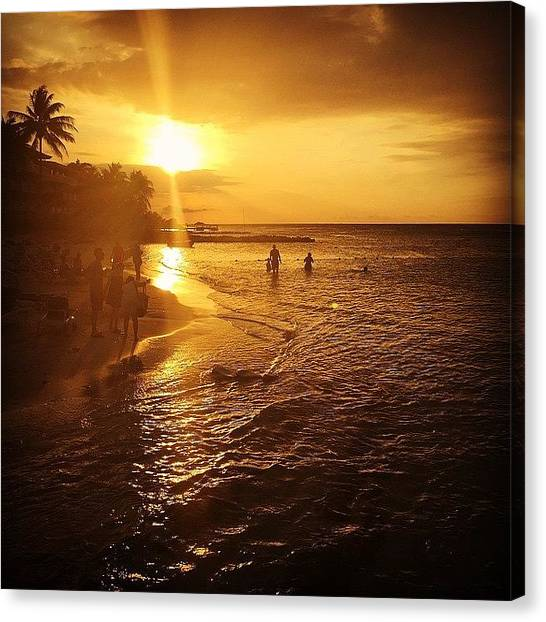 Beach Sunsets Canvas Print - #holidayinresortjamaica by Tammy Wetzel