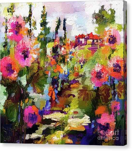 Hollyhock Garden Path Modern Impressionism Canvas Print