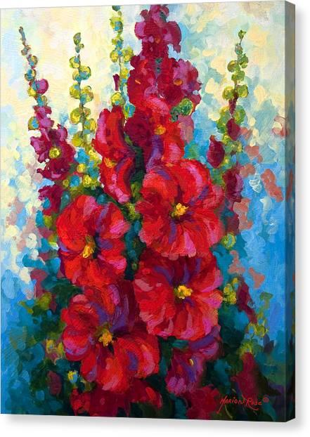 Vineyard Canvas Print - Hollyhocks by Marion Rose