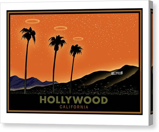 Palm Trees Sunsets Canvas Print - Hollywood Angels by Steve Beaumont