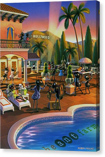 Ants Canvas Print - Hollywood Ants Cocktail Party by Robin Moline
