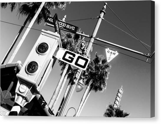 Hollywood Blvd Bw Canvas Print