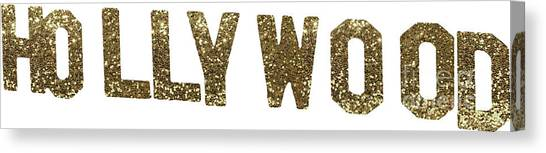 Beverly Hills Canvas Print - Hollywood Gold Glitter Sign by Mindy Sommers