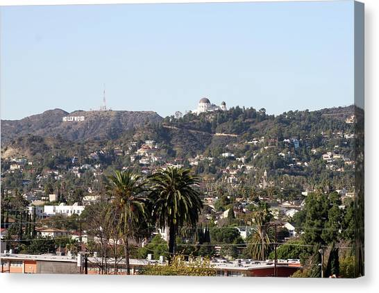 Hollywood Hills From Sunset Blvd Canvas Print