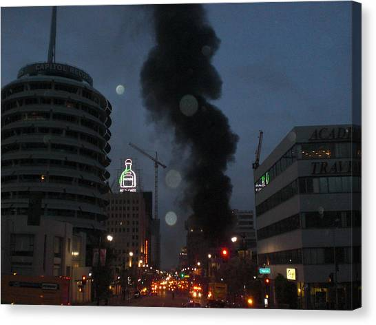 Hollywood Is Burning Canvas Print by Roman Lezo