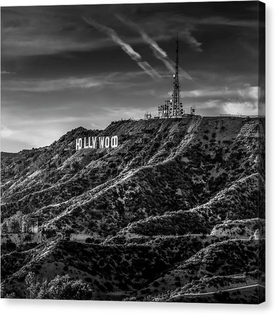 Hollywood Sign - Black And White Canvas Print
