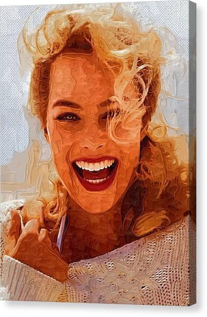 Orlando Bloom Canvas Print - Hollywood Star Margot Robbie by Elizabeth Simon