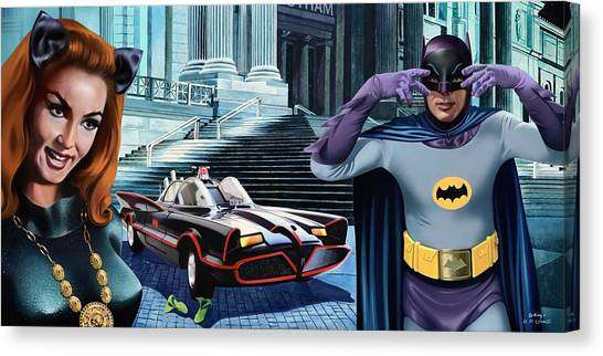 Holy Catastrophe - Julie Newmar And Adam West - 1966 Canvas Print by Jo King