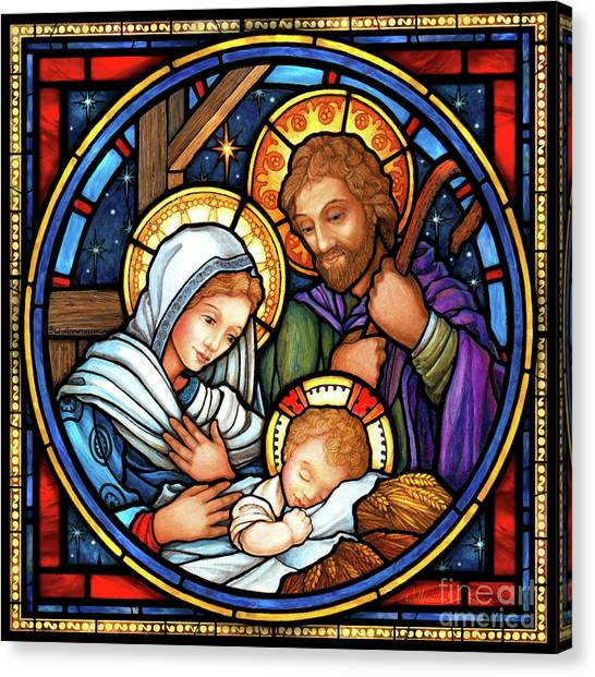 Holy Family Stained Glass Canvas Print