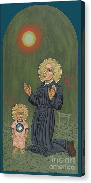 Holy Father Pedro Arrupe, Sj In Hiroshima With The Christ Child 293 Canvas Print