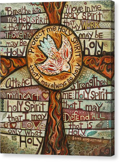 Catholic Canvas Print - Holy Spirit Prayer By St. Augustine by Jen Norton