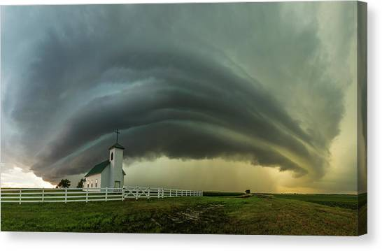 Canvas Print featuring the photograph Holy Supercell  by Aaron J Groen