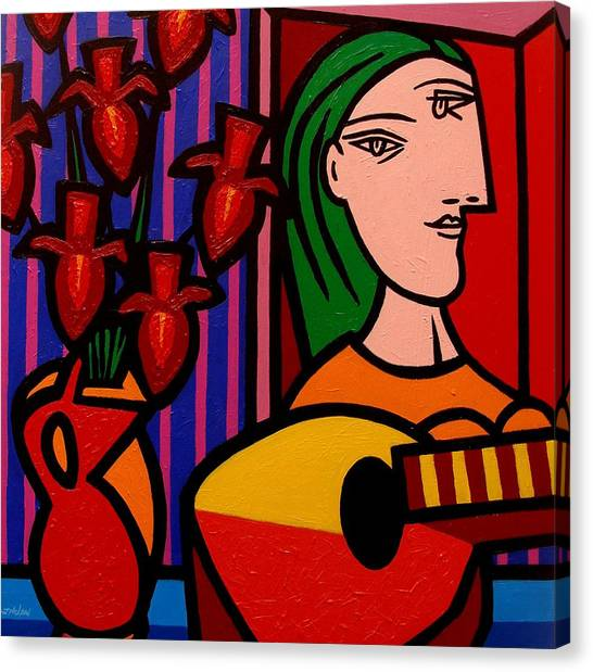Mandolins Canvas Print - Homage To Picasso by John  Nolan