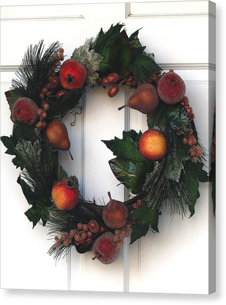 Wreath Canvas Print - Home For The Holidays by Rebecca Cozart