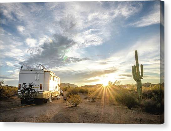 Canvas Print featuring the photograph Home In The Desert by Margaret Pitcher