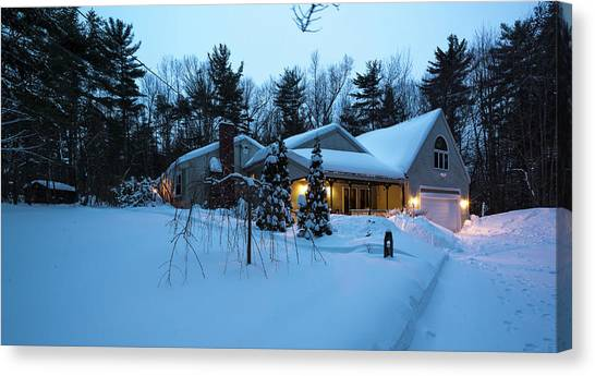 Canvas Print featuring the photograph Home In Winter by Robert McKay Jones