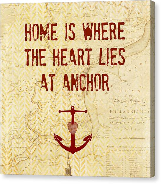 Philly Canvas Print - Home Is Philadelphia Anchor by Brandi Fitzgerald