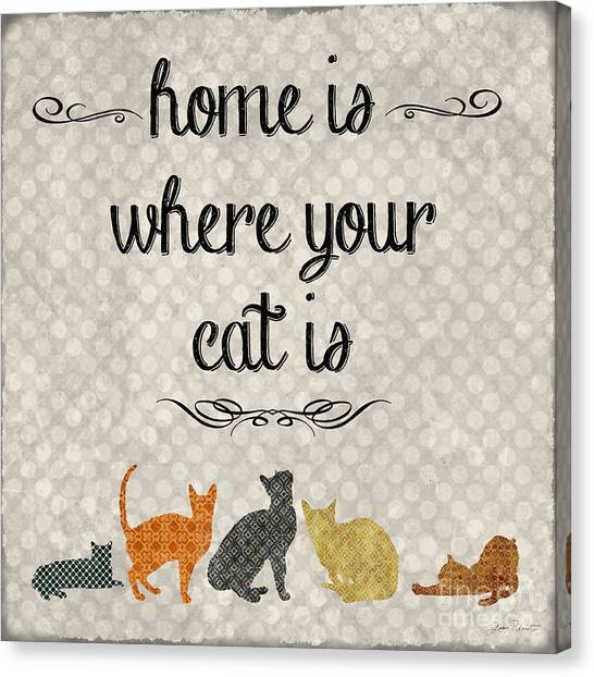 Vintage Canvas Print - Home Is Where Your Cat Is-jp3040 by Jean Plout
