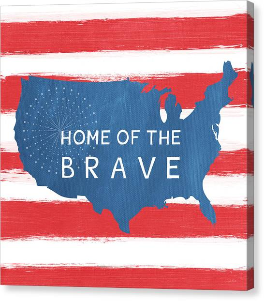 America Canvas Print - Home Of The Brave by Linda Woods