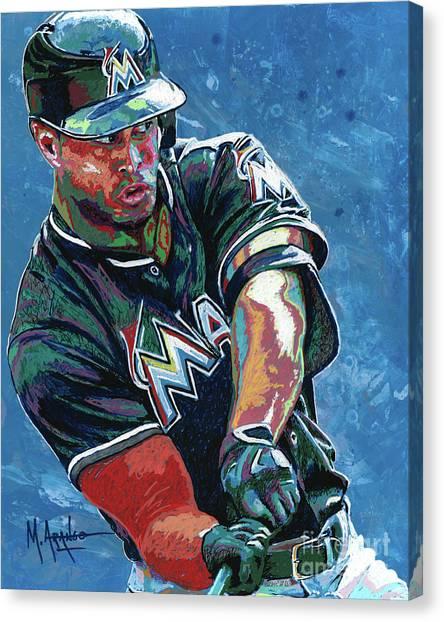 Miami Marlins Canvas Print - Home Run by Maria Arango