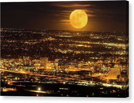Home Sweet Hometown Bathed In The Glow Of The Super Moon  Canvas Print