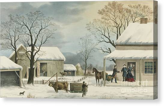Currier And Ives Canvas Print - Home To Home To Thanksgiving, 1867 by Currier and Ives
