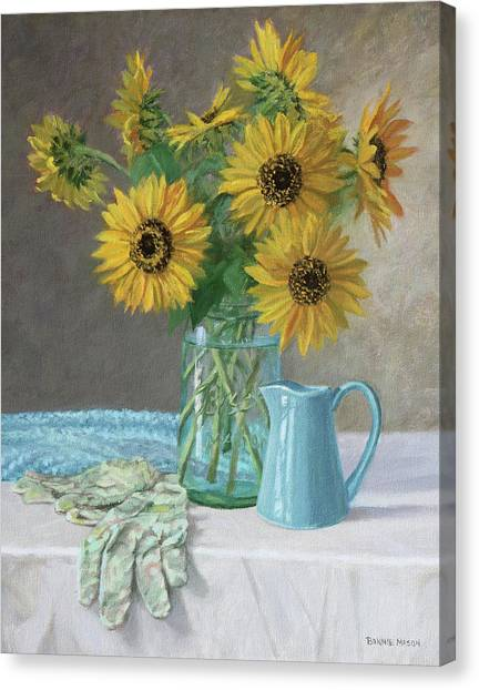 Homegrown - Sunflowers In A Mason Jar With Gardening Gloves And Blue Cream Pitcher Canvas Print