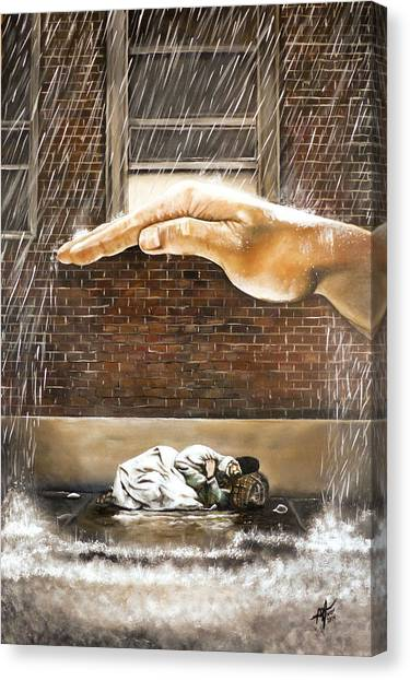 United Way Canvas Print - Homeless by Michelle Iglesias