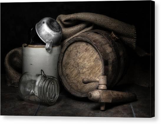 Wine Barrels Canvas Print - Homemade Whiskey by Tom Mc Nemar