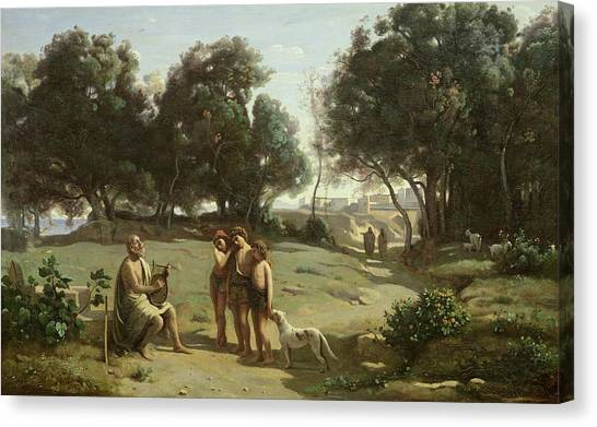 Lute Canvas Print - Homer And The Shepherds In A Landscape by Jean Baptiste Camille Corot