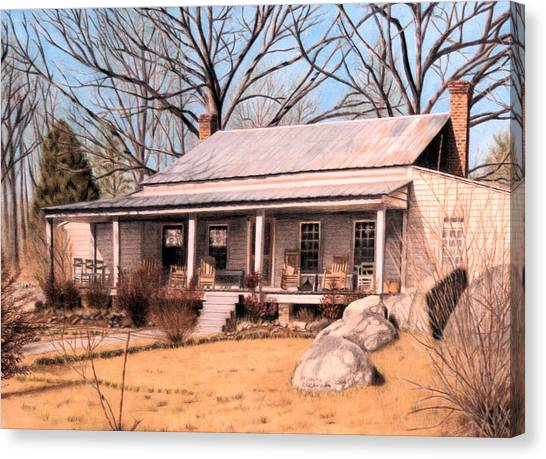 Prisma Colored Pencil Canvas Print - Homestead by Maxine Blackwell