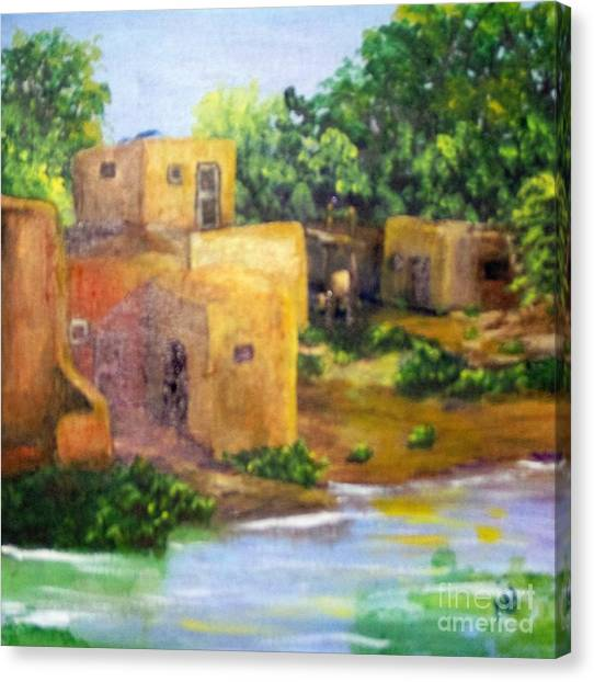 Canvas Print featuring the painting Hometown by Saundra Johnson