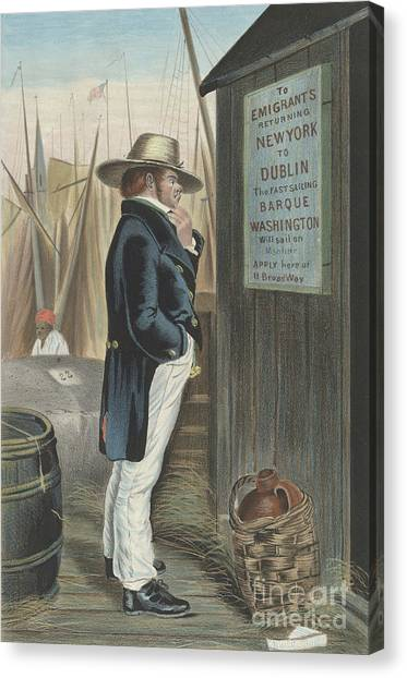 Currier And Ives Canvas Print - Homeward Bound  New York by Currier and Ives