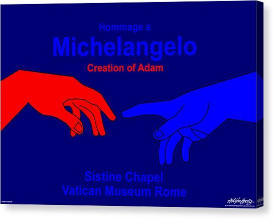 Hommage A Michelangelo  Canvas Print by Asbjorn Lonvig