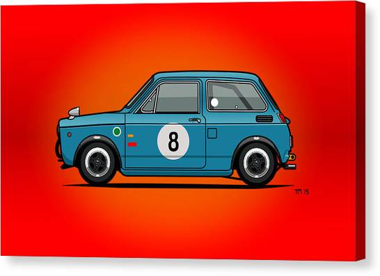 Planet Canvas Print - Honda N600 Blue Kei Race Car by Monkey Crisis On Mars