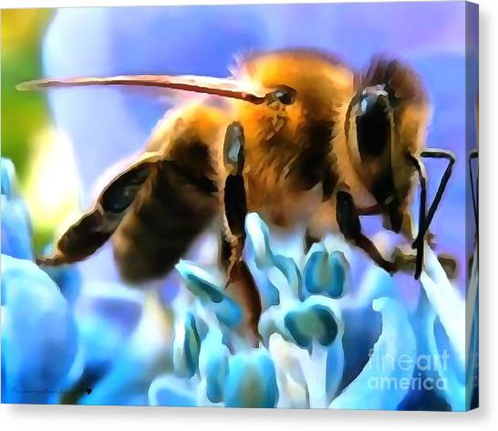 Honey Bee In Interior Design Thick Paint Canvas Print