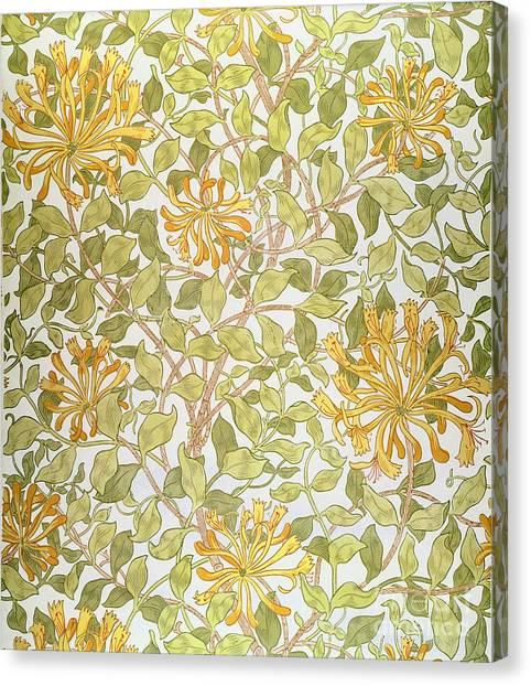 Pre-raphaelite Art Canvas Print - Honeysuckle Design by William Morris