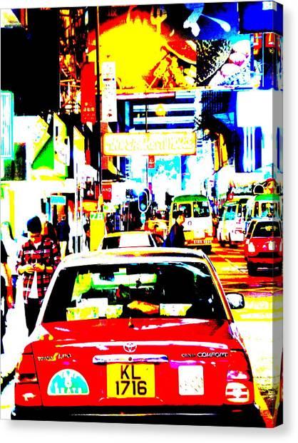 Hong Kong Cabs Canvas Print