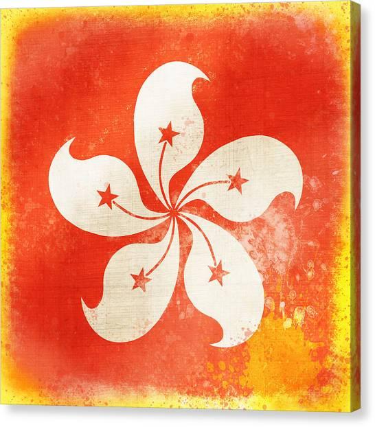 Hong Kong Canvas Print - Hong Kong China Flag by Setsiri Silapasuwanchai