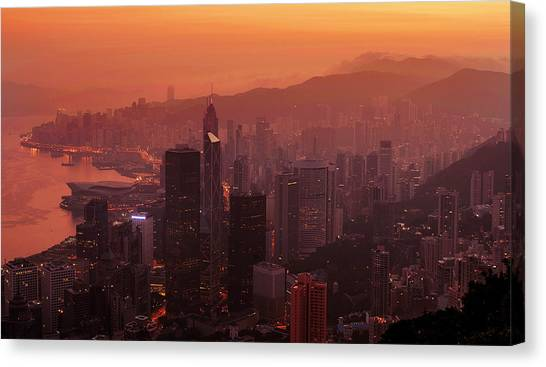 Canvas Print featuring the photograph Hong Kong City View From Victoria Peak by Pradeep Raja Prints