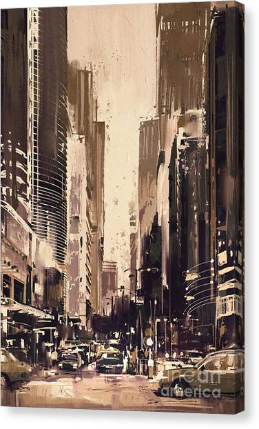 Canvas Print featuring the painting Hong-kong Cityscape Painting by Tithi Luadthong
